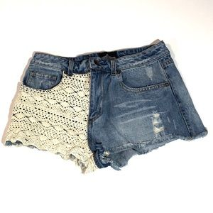 Angie Distressed Mid Rise Jean Shorts